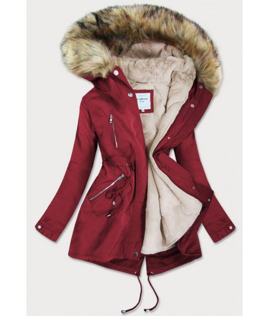 Dámska zimná bunda MODA3399 červená 4XL