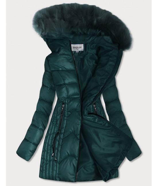 Dámska prešívaná zimná bunda s kapucňou MODA918 zelená M