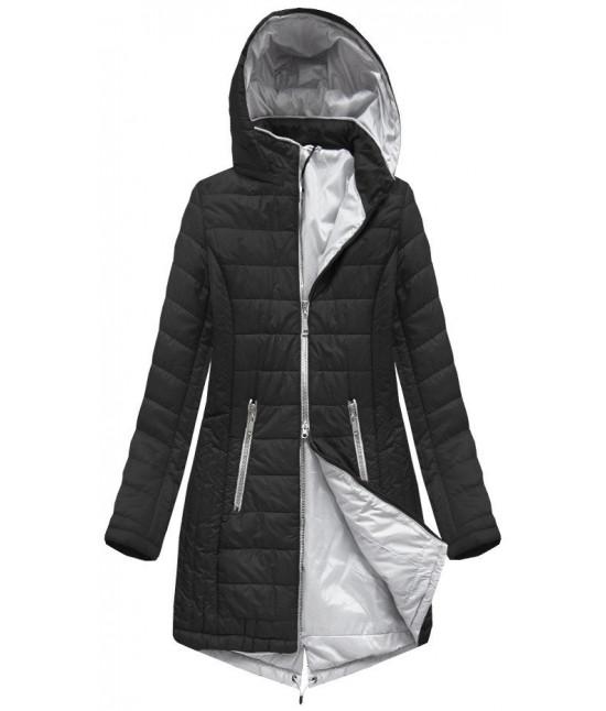 Dlhá dámska jarná bunda MODA088 čierna S