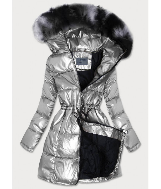 Dámska zimná bunda MODA9528 strieborná
