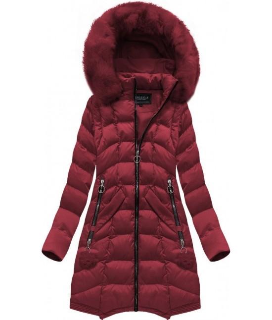 Dámska dlhá zimná bunda MODA769 bordová veľkosť M