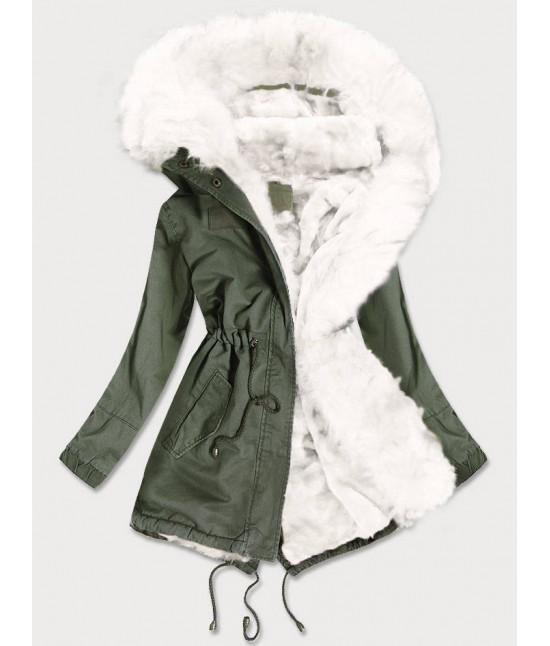 Dámska zimná bunda parka MODA216 khaki-biela veľkosť M