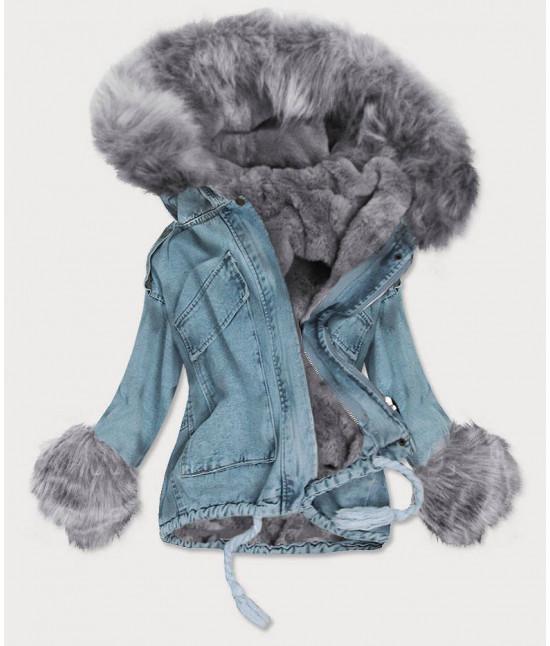 Dámska krátka jeansová bunda s kožušinou MODA866 čierna