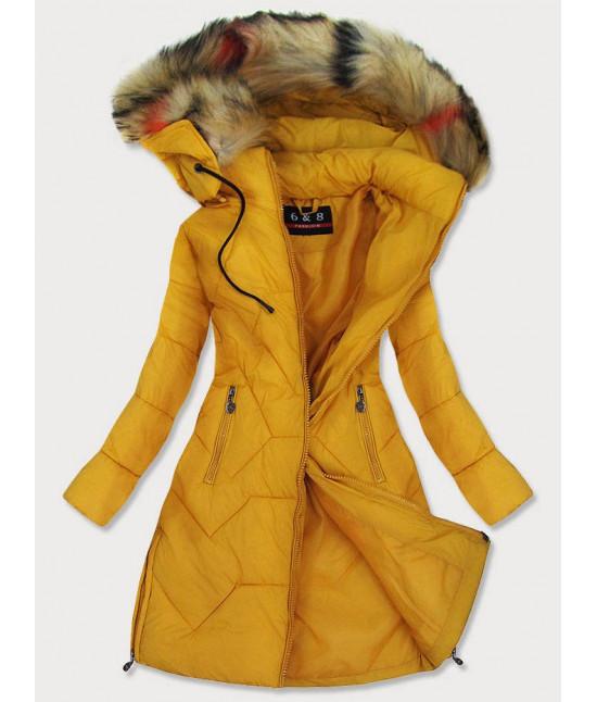 Dámska prešívaná zimná bunda MODA2013 žltá