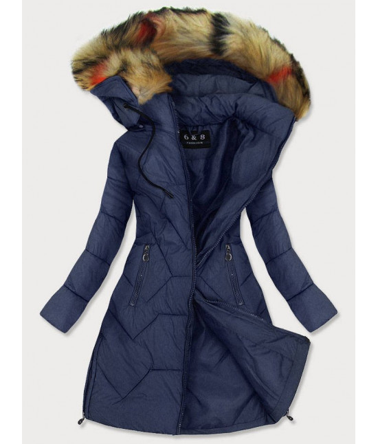 Dámska prešívaná zimná bunda MODA2013 modrá