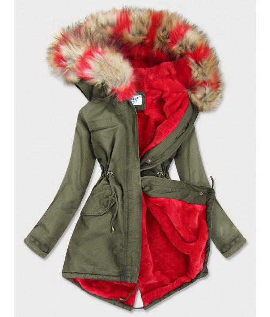 Dámska zimná bunda parka MODA619X khaki-červená