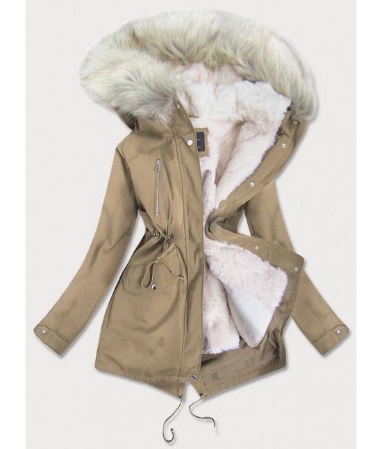 Dámska zimná bunda parka MODA1999 béžová
