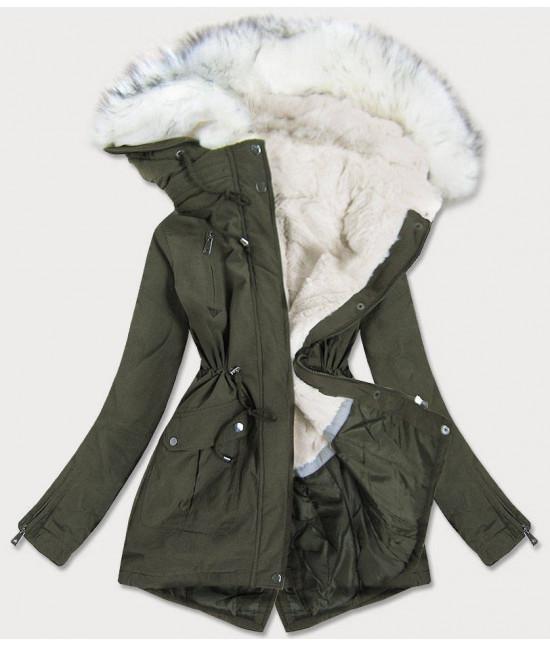 Dámska zimná bunda MODA856 khaki
