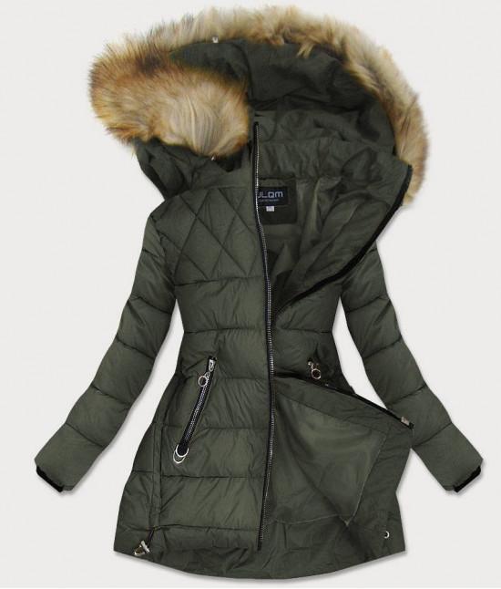 Prešívaná dámska zimná bunda MODA907 khaki