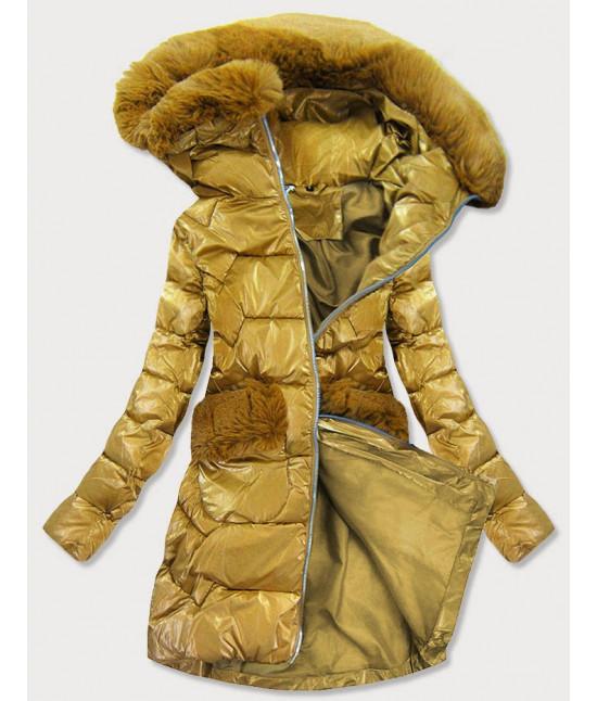 Prešívaná dámska zlatá bunda MODA180