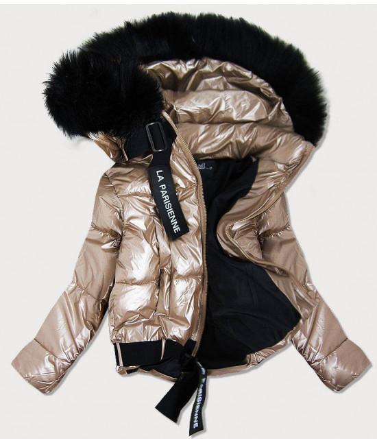 Dámska lesklá bunda s kapucňou MODA297 zlatá