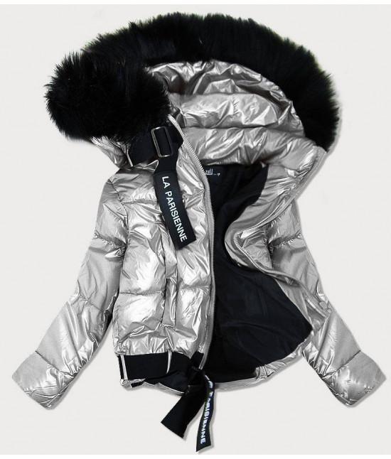 Dámska lesklá bunda s kapucňou MODA297 strieborná