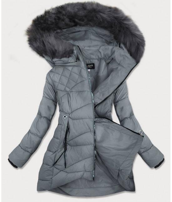Dámska prešívaná zimná bunda MODA808 šedá