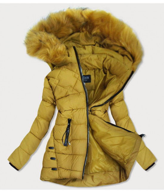 Dámska zimná bunda s kapucňou MODA865 horčicová