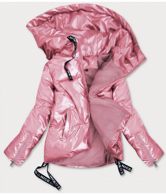 Dámska lesklá krátka zimná bunda MODA632 ružová