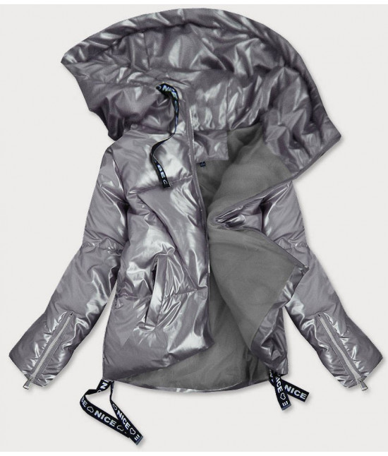 Dámska lesklá krátka zimná bunda MODA632 strieborna