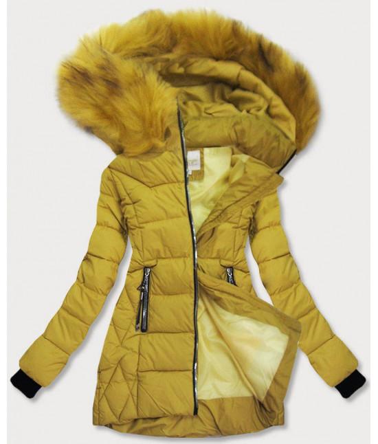 Dámska zimná bunda s kapucňou MODA969 horčicová