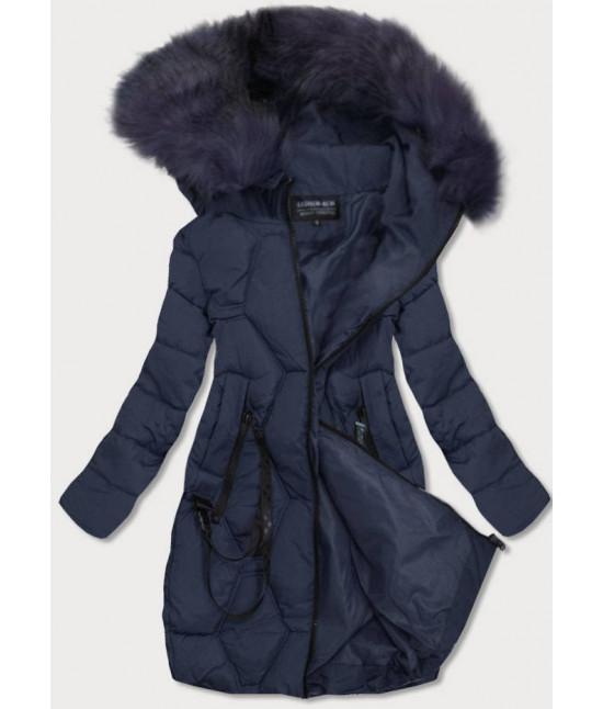 Prešívaná dámska zimná bunda MODA0163 tmavomodrá
