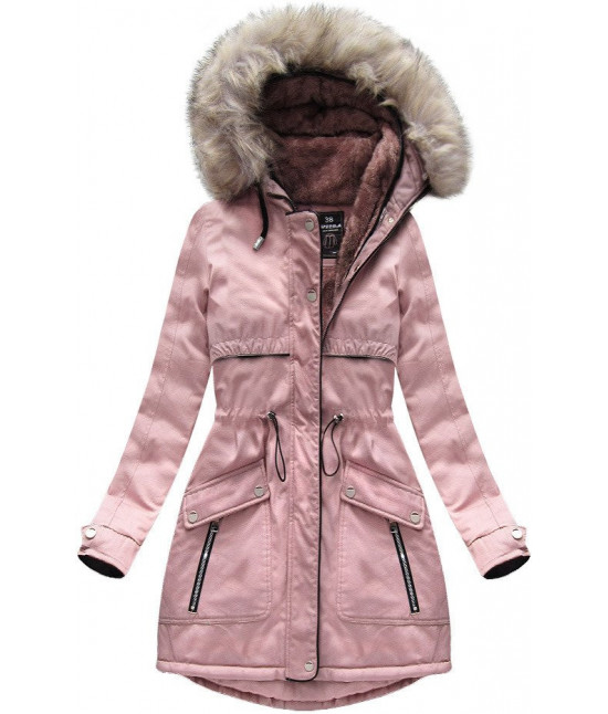 Dámska zimná bunda parka MODA633 staroružová veľkosť M