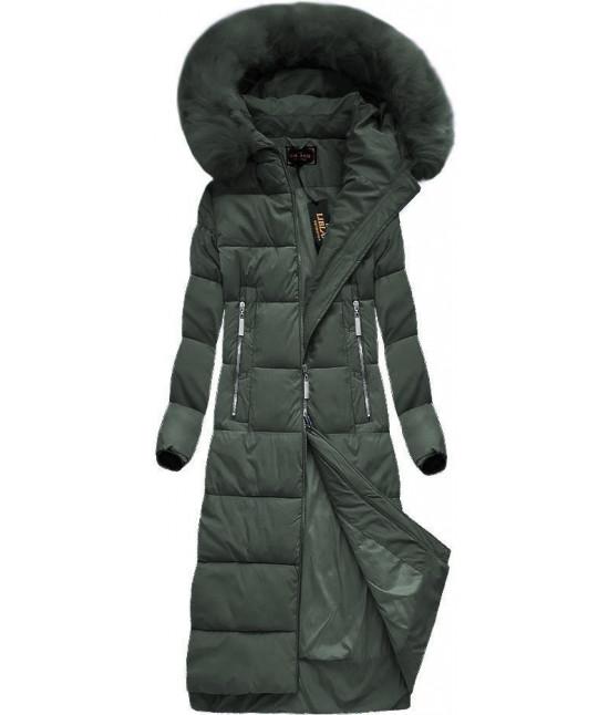 Dlhá dámska zimná bunda MODA688 zelená veľkosť S