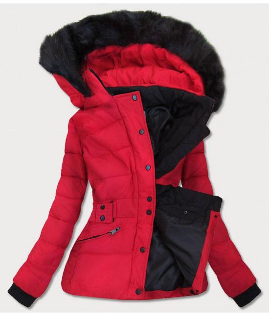 Krátka dámska zimná bunda s kapucňou MODA9539 červená XL