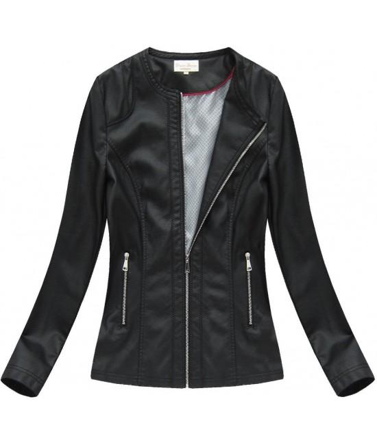 Dámska koženková bunda MODA806BIG čierna