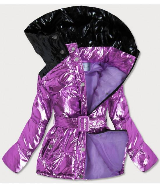 Metalická dámska zimná bunda s opaskom MODA359 fialová