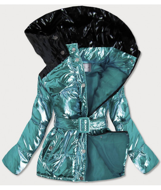 Metalická dámska zimná bunda s opaskom MODA359 modrá