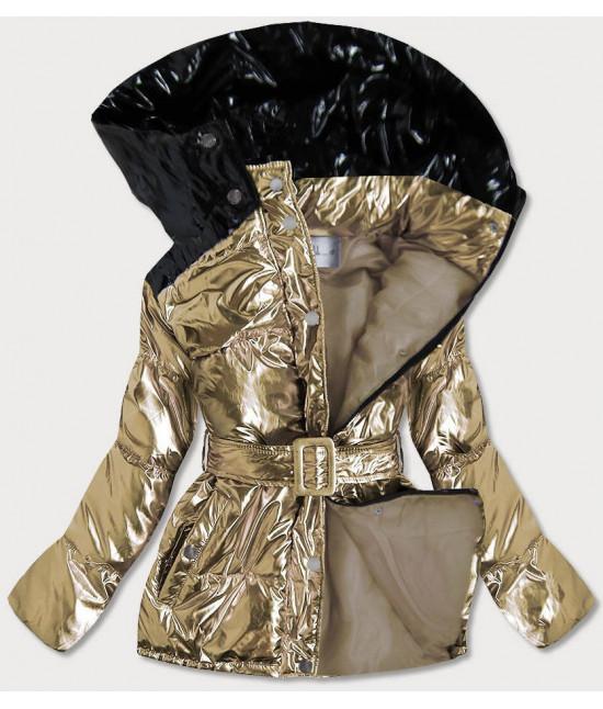 Metalická dámska zimná bunda s opaskom MODA359 zlatá