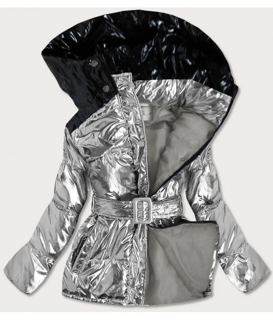 Metalická dámska zimná bunda s opaskom MODA359 strieborná