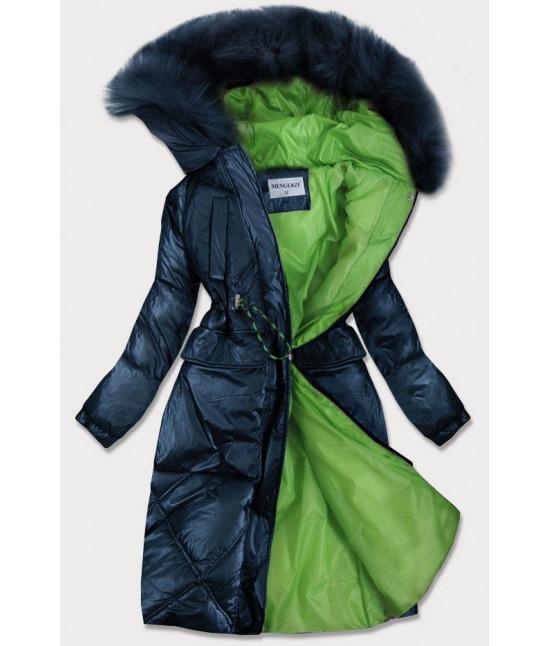 Dámska lesklá zimná bunda MODA977 tmavomodrá veľkosť M
