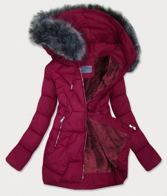 Dámska zimná bunda MODA527 bordová S