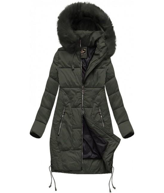 Dámska zimná bunda s kapucňou MODA690 khaki veľkosť S