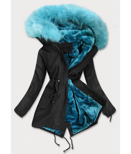 Dámska zimná bunda parka MODA196 čierna veľkosť M