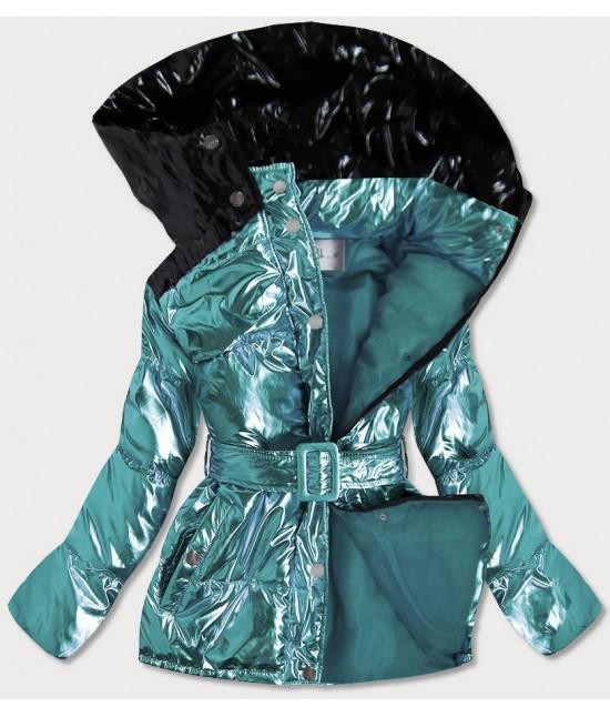 Metalická dámska zimná bunda s opaskom MODA359 modrá M