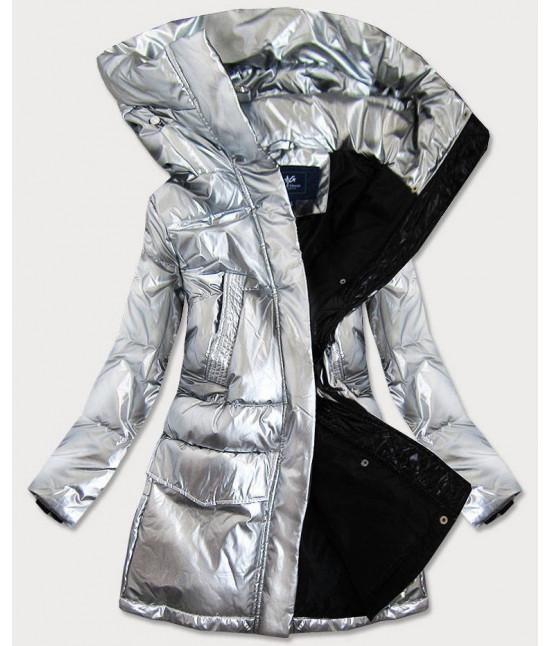 Strieborná dámska zimná bunda MODA9295 veľkosť L