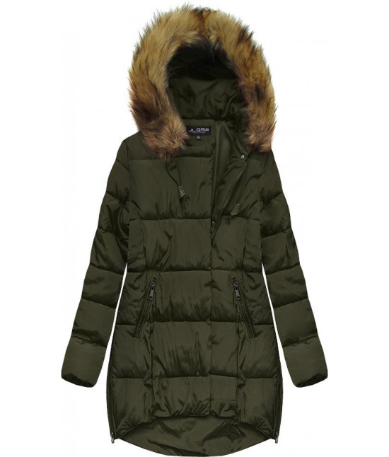 Dámska zimná bunda s kapucňou MODA859 khaki veľkosť 3XL