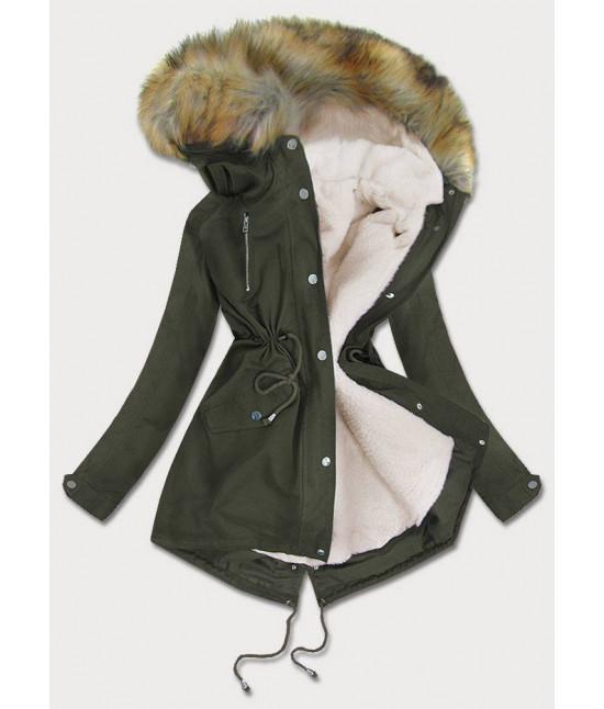 Dámska zimná bunda parka MODA998 khaki veľkosť 3XL