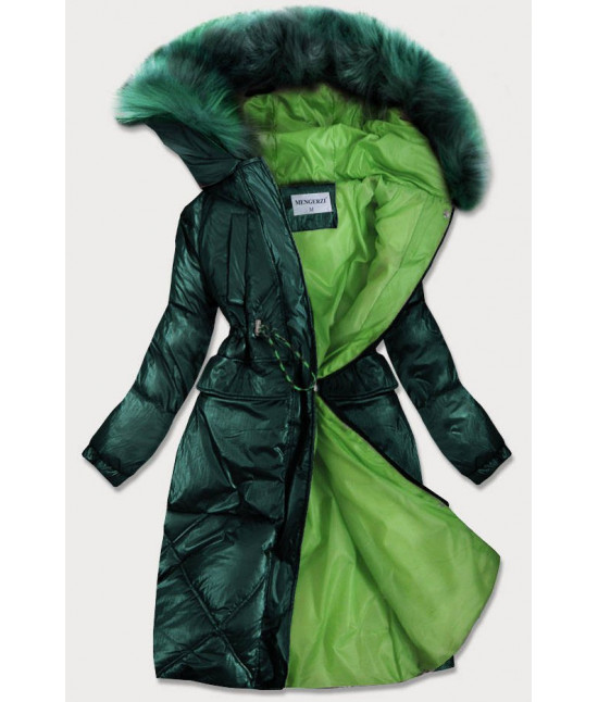 Dámska lesklá zimná bunda MODA977 zelená veľkosť L