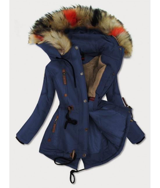 Dámska zimná bunda MODA208BIG modrá veľkosť 3XL