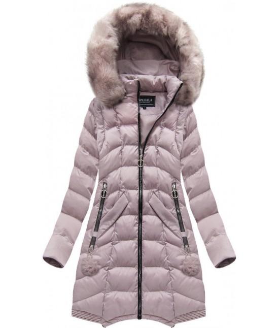 Dámska dlhá zimná bunda MODA769 ružová M