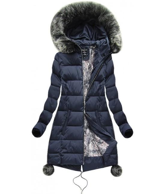 Dámska zimná bunda MODA739 tmavomodrá veľkosť 3XL