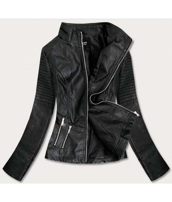 Dámska koženkovaá bunda MODA0116 čierna