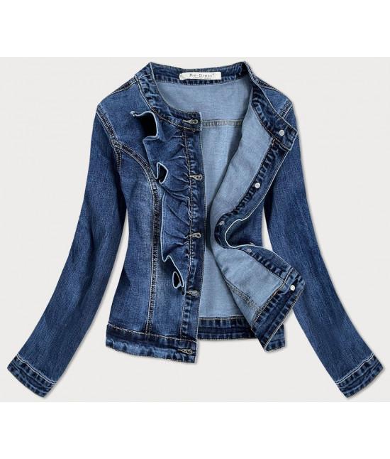 Dámska jeansová bunda s volánikmi MODA137 tmavomodrá