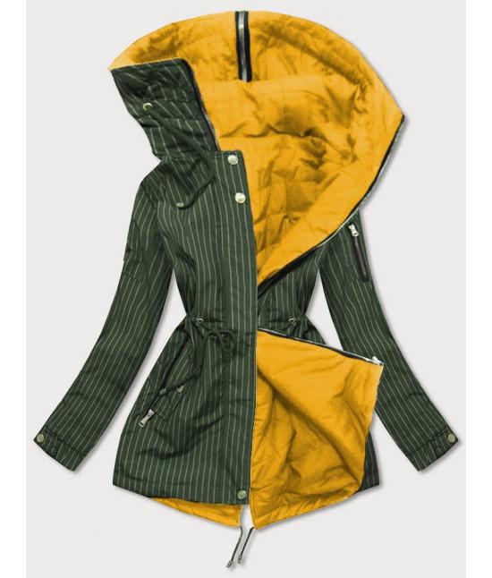 Dámska obojstranná jarná bunda MODA659 khaki-žltá veľkosť XXL
