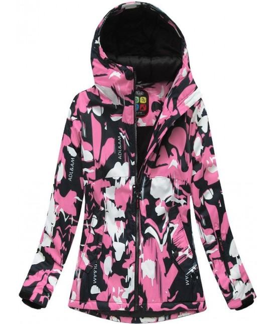 Dámska zimná snowboardová bunda MODA186 čierno-ružová veľkosť XL