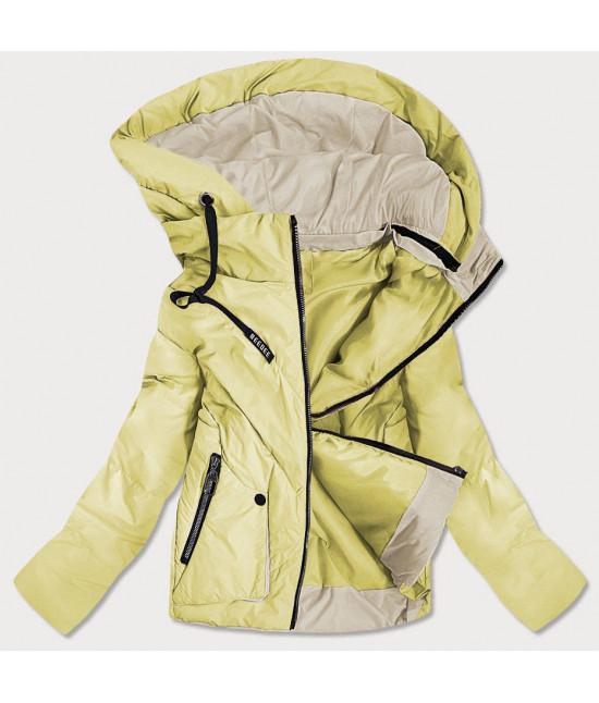 Krátka dámska asymetrická jarná bunda MODA0955 žltá