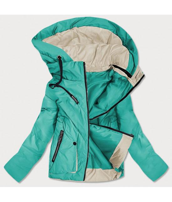 Krátka dámska asymetrická jarná bunda MODA0955 tyrkysová