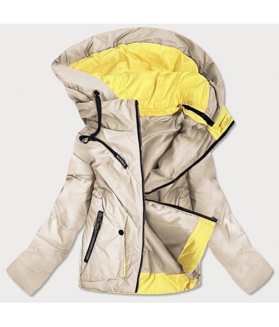 Krátka dámska asymetrická jarná bunda MODA0955 béžová