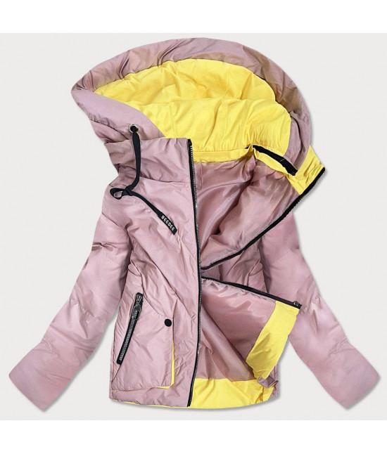 Krátka dámska asymetrická jarná bunda MODA0955 ružová